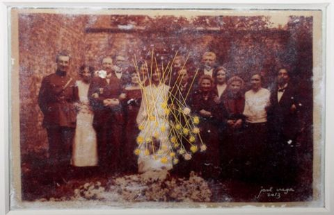 'THE WEDDING GUESTS,' 2014, Photo transfer on cloth, thread and embroidery